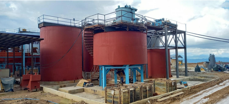 Views of the leached concentrating dewatering unit at August 2, 2020 where installation and reconditioning of the thickener flocculant mixing and dosing assembly from Canatuan is progressing.
