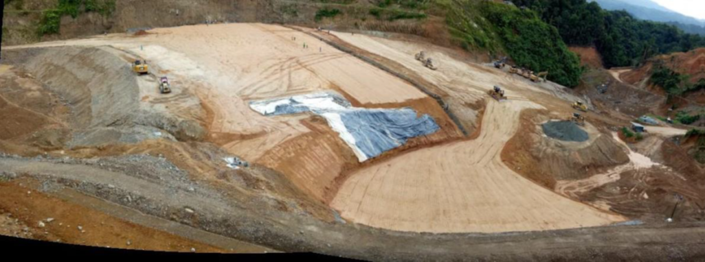 "Views of Tailings Storage Facility (""TSF"") on February 23, 2021, where the stripping and removal of waste materials as well as the placement, spreading and compaction of numerous layers continues.  Completion of the TSF is a critical path item."