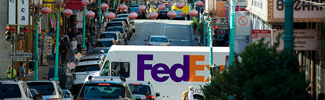 FedEx Ground delivery truck in Chinatown