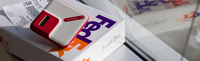 FedEx Express box with SenseAware device