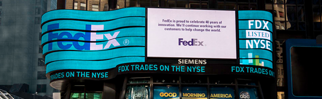 FedEx 40th anniversary billboard in Times Square, New York